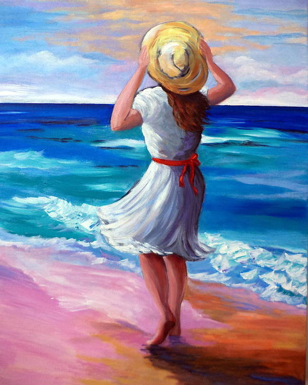 Lady Art Print featuring the painting Windy Day At The Beach by Rosie Sherman