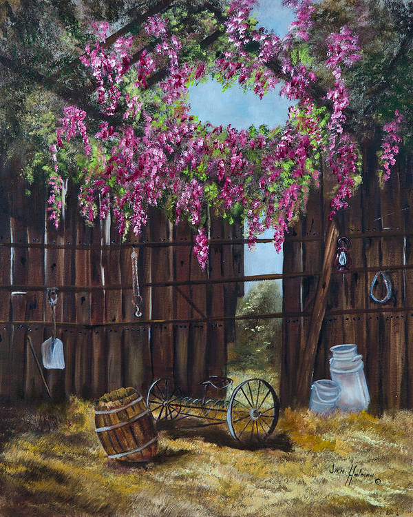 Wisteria Art Print featuring the painting Wisteria by Jan Holman