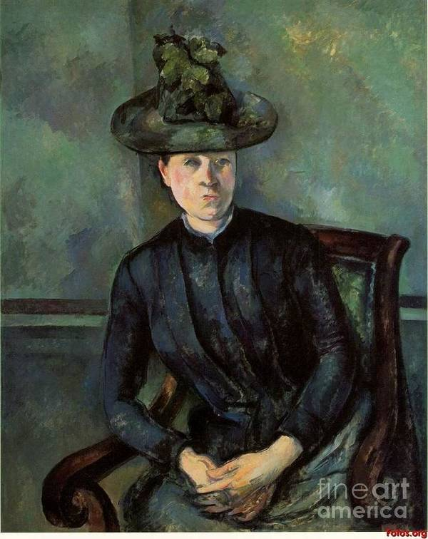 Cezanne Art Print featuring the painting Woman In A Green Hat by Extrospection Art