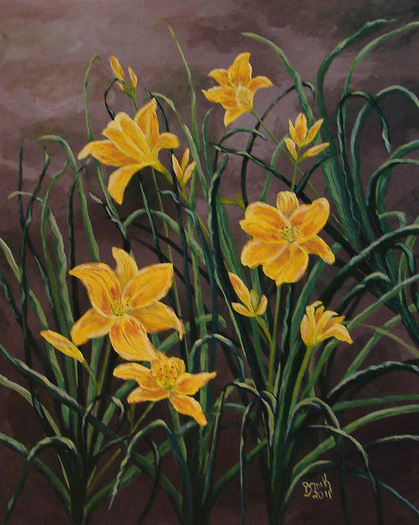 Yellow Day Lilies Art Print featuring the painting Yellow Daylilies by Phyllis Smith