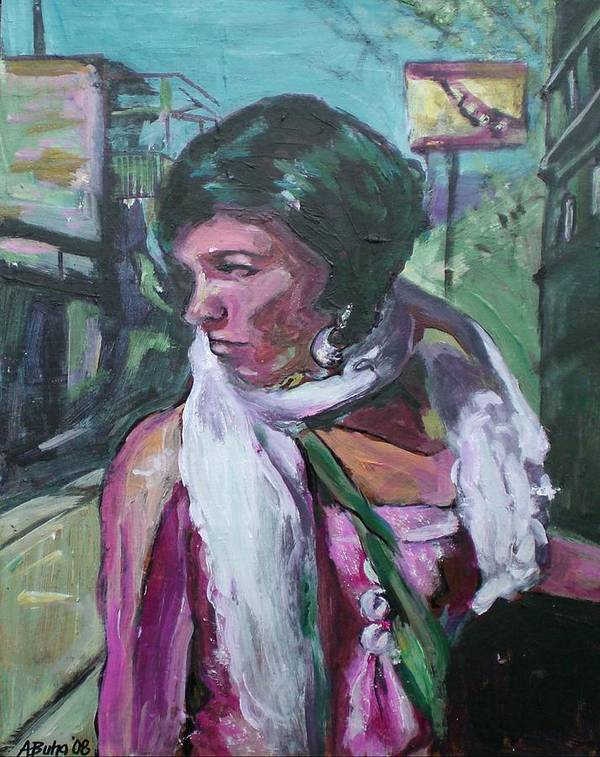 Art Print featuring the painting Girl With White Shawl by Aleksandra Buha