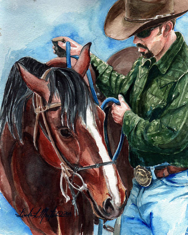 Wild Horse Print featuring the painting Just A Bit by Linda L Martin