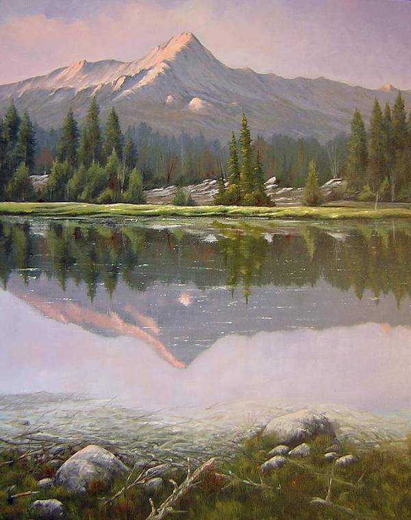Landscape Art Print featuring the painting 060923-2430 Reflections At Days End  by Kenneth Shanika