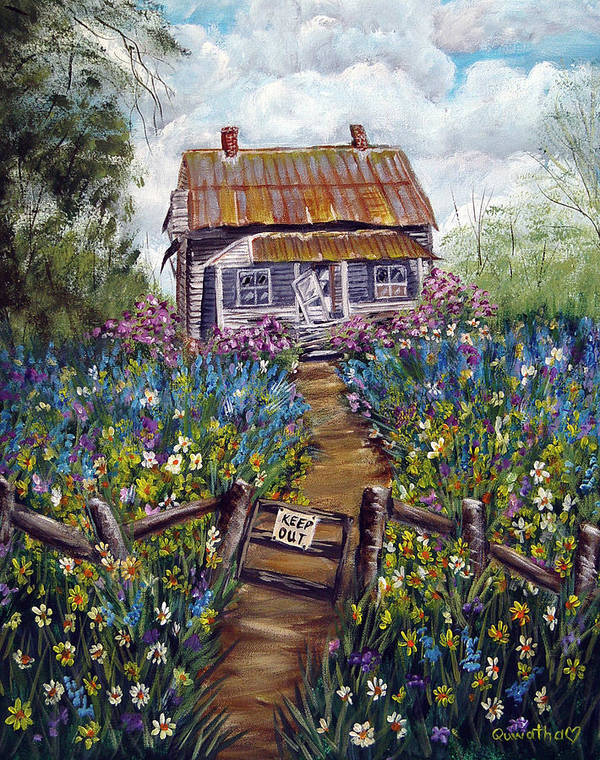 House Art Print featuring the painting Abandoned House by Quwatha Valentine