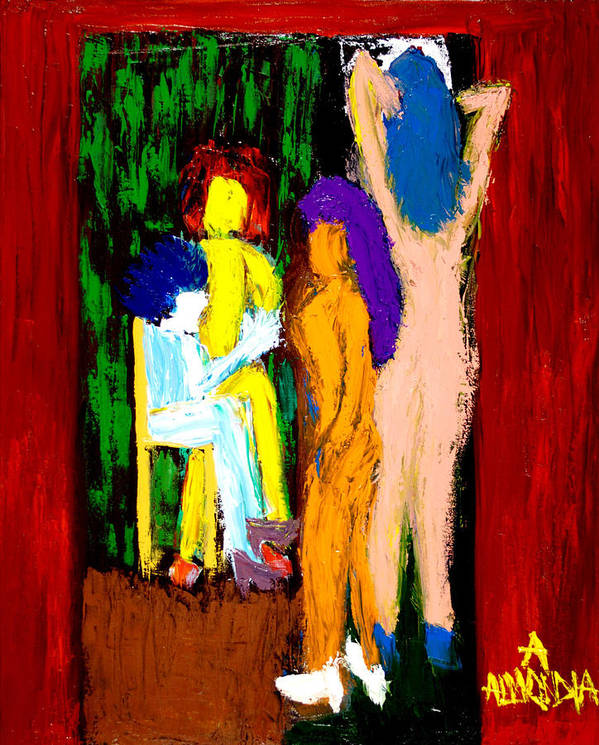 Women Art Print featuring the painting Backstage Drama by Albert Almondia