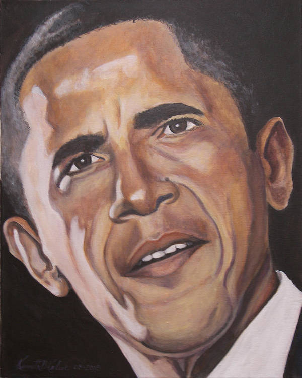 Barack Print featuring the painting Barack Obama by Kenneth Kelsoe