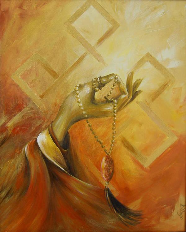 Yoga Art Print featuring the painting Gyan Mudra by Dina Dargo
