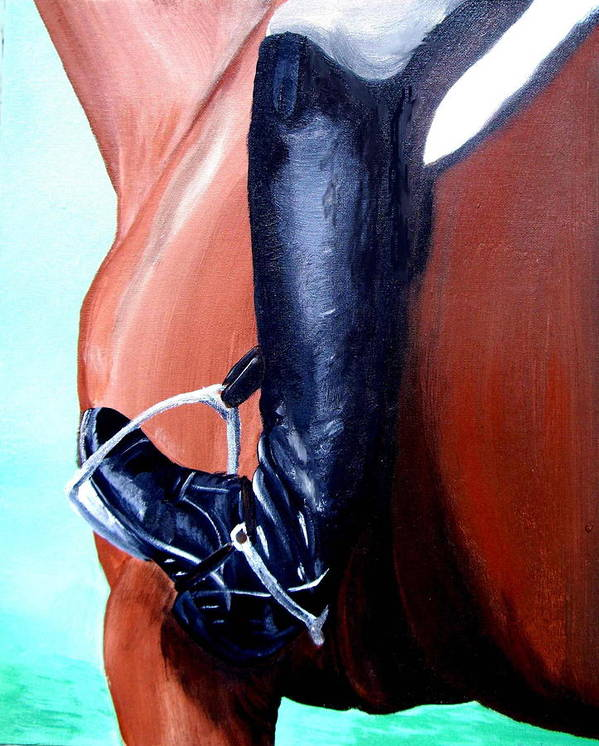 Horse Art Print featuring the painting Heels Down by Glenda Smith