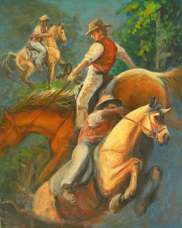 Horses Art Print featuring the painting High Country Riding by Sue Linton