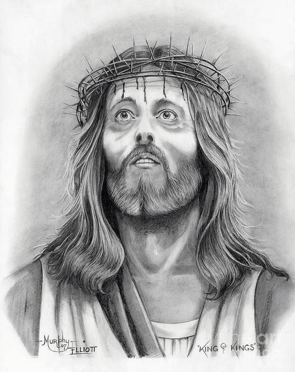 Jesus Christ Art Print featuring the drawing King Of Kings by Murphy Elliott