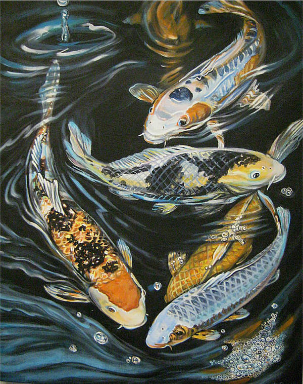 Fish Art Print featuring the painting Koi Pond by Diann Baggett