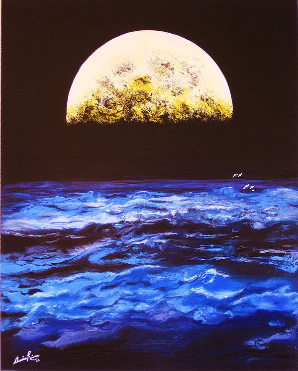 Contemporain Sea Art Print featuring the painting Le Voyage by Annie Rioux