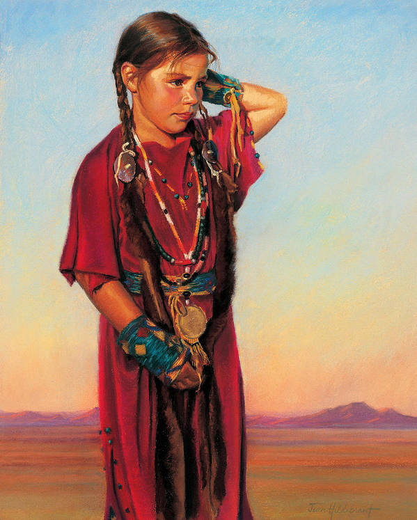 American Indian Art Print featuring the painting Little American Beauty I by Jean Hildebrant