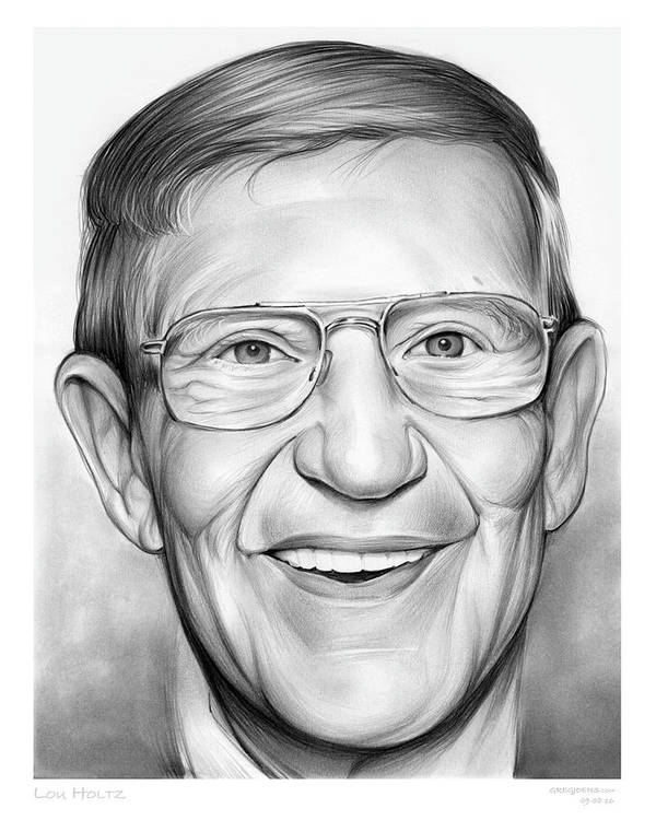 Lou Holtz Art Print featuring the drawing Lou Holtz by Greg Joens