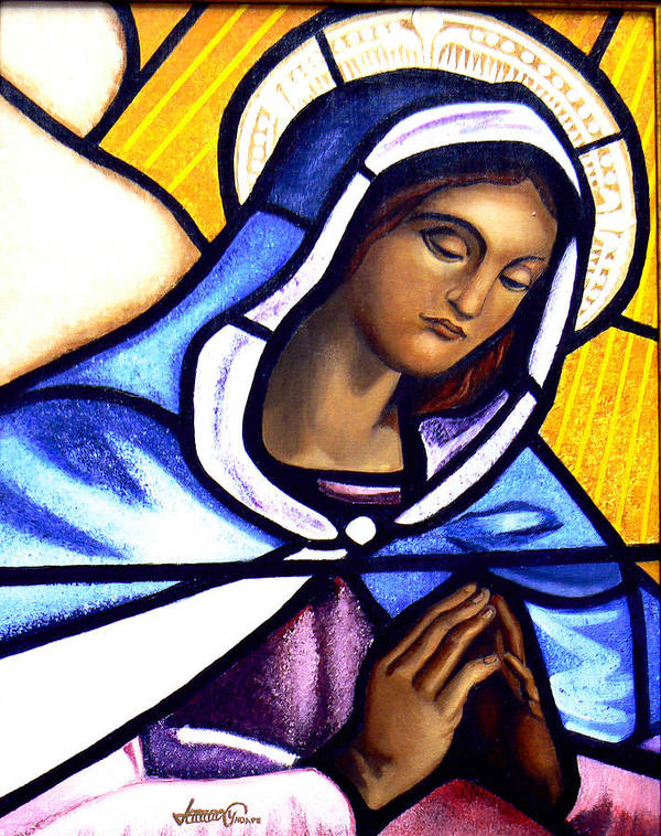 Stained Glass Art Print featuring the painting Mary In Glass by JoeRay Kelley