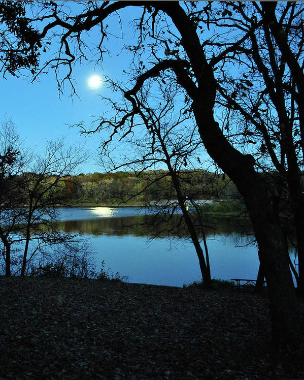Lake Art Print featuring the photograph Moon Over Pierce Lake by Jeff Dostalek