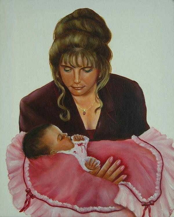 Portrait Art Print featuring the painting Mother And Child by Joni McPherson