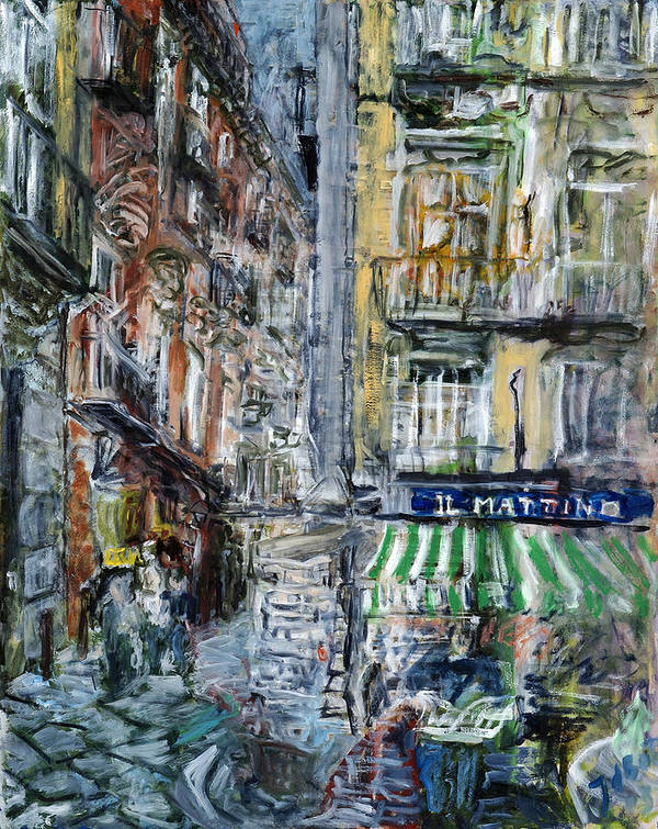 Cityscape Naples Italy Kiosk Alley Way Newspapers Art Print featuring the painting Naples Kiosk by Joan De Bot