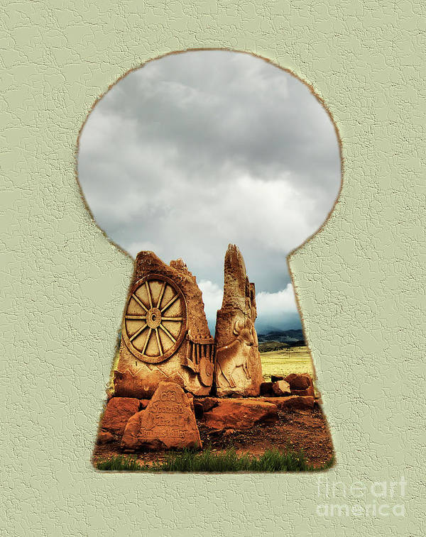 Spanish Trail Art Print featuring the digital art Old Spanish Trail Marker by Steve Edwards