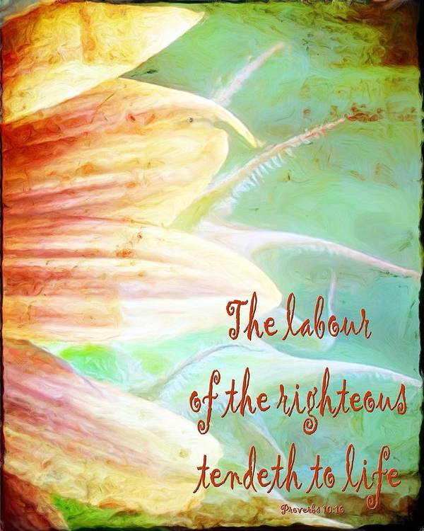 Jesus Art Print featuring the digital art Proverbs 10 16 by Michelle Greene Wheeler