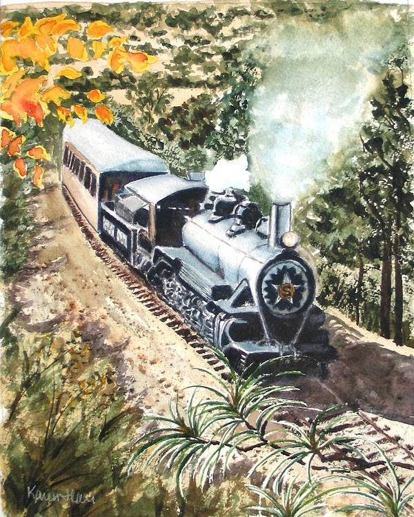 Trains Art Print featuring the painting Round The Bend by Karen Ilari