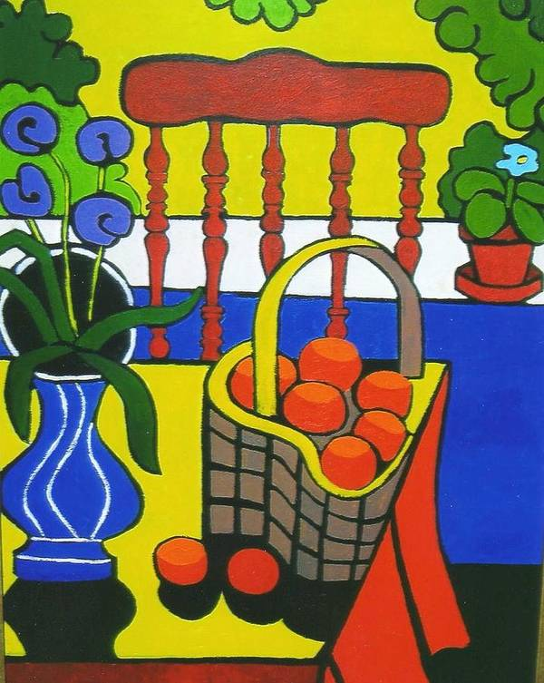 Still Life Art Print featuring the painting Still Life With Red Chair And Oranges by Nicholas Martori