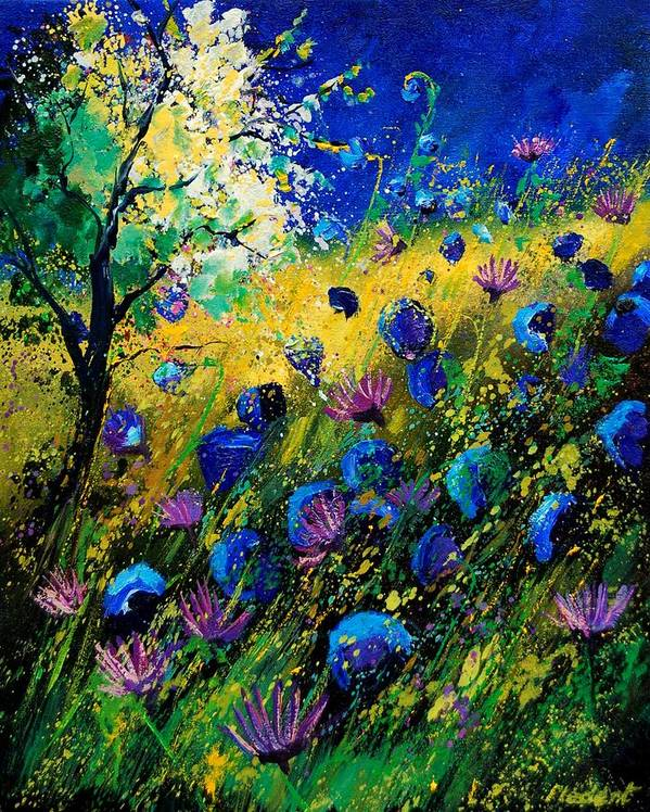 Poppies Art Print featuring the painting Summer 450208 by Pol Ledent