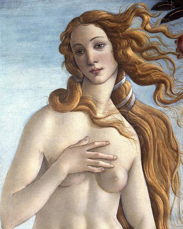 Redhead; Restored Version; Florentine; Renaissance; Quattrocento; Shell; Scallop; Goddess; Beauty; Wind; Nude; Female; Personification; Hour; Cloak Art Print featuring the painting The Birth Of Venus by Sandro Botticelli