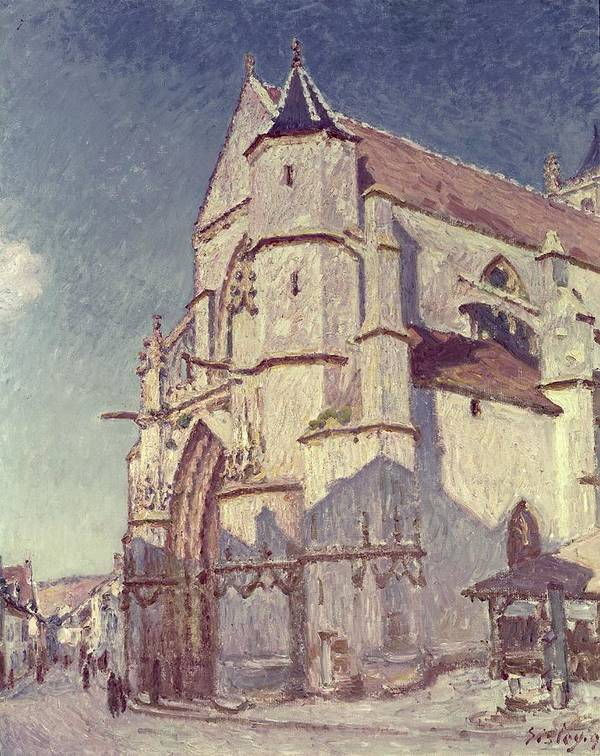 The Church At Moret Print featuring the painting The Church At Moret by Alfred Sisley