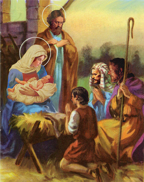 Nativity Print featuring the pastel The Nativity by Valer Ian