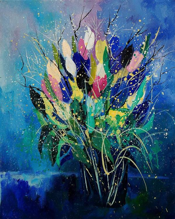 Flowers Art Print featuring the painting Tulips 45 by Pol Ledent