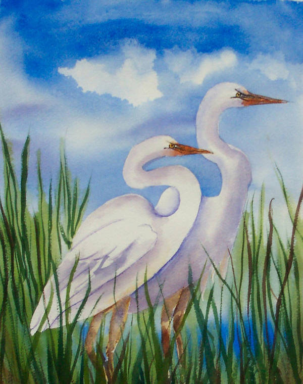 Egrets Art Print featuring the painting Twin Egrets by Ruth Bevan