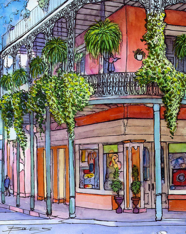 New Orleans Art Print featuring the painting 18 French Quarter Art Gallery by John Boles