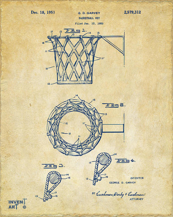 Basketball Art Print featuring the drawing 1951 Basketball Net Patent Artwork - Vintage by Nikki Marie Smith