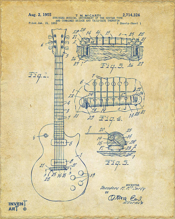 Guitar Art Print featuring the drawing 1955 Mccarty Gibson Les Paul Guitar Patent Artwork Vintage 1955 by Nikki Marie Smith