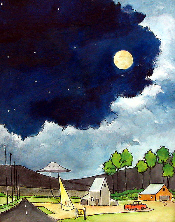 Ufo's Art Print featuring the painting Gas Stop by James Smith