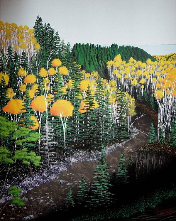 Landscape Art Print featuring the painting River Through Golden Forest by Dan Shefchik
