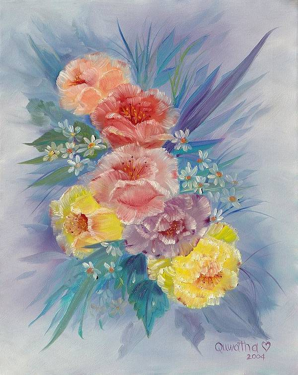 Roses Art Print featuring the painting Roses by Quwatha Valentine