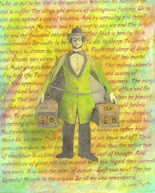 Yellow Art Print featuring the mixed media 2b Or Not 2b by Desiree Paquette