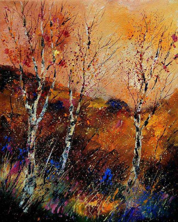 River Art Print featuring the painting 3 Poplars by Pol Ledent