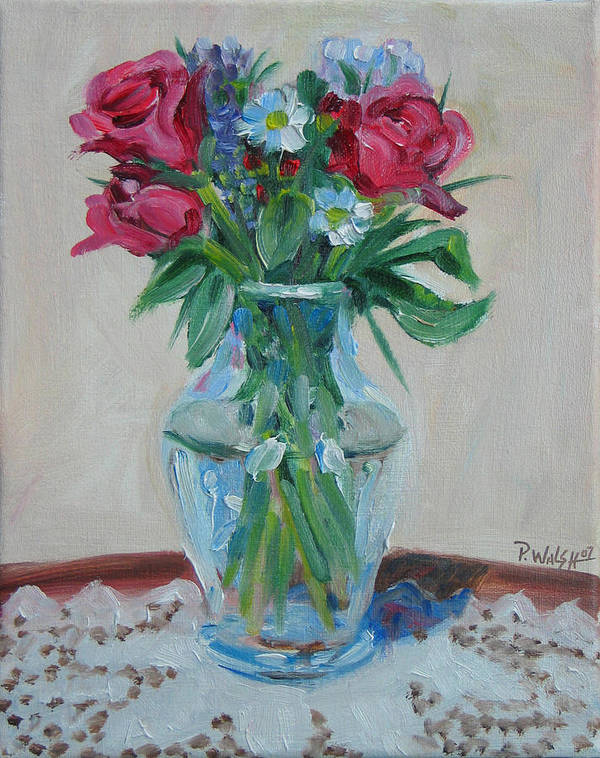 Roses Art Print featuring the painting 3 Roses by Paul Walsh