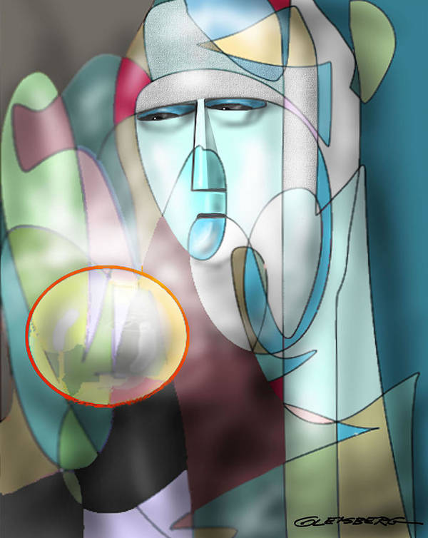 Nun Appearing Into Crystal Ball Art Print featuring the painting Nun Peering Into Crystal Ball by Craig A Christiansen