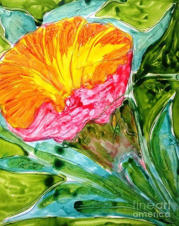 Abstract Flowers Floral Botanical Nature Art Print featuring the painting Divine Flowers by Baljit Chadha