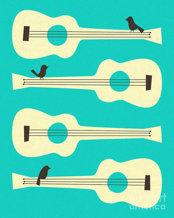 Birds Art Print featuring the digital art Birds On Guitar Strings by Jazzberry Blue