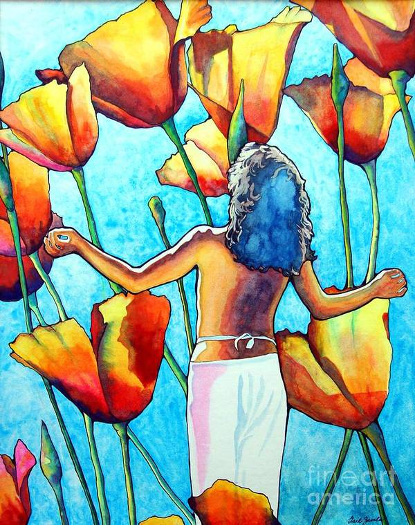 Woman Art Print featuring the painting 60s Meditation by Gail Zavala