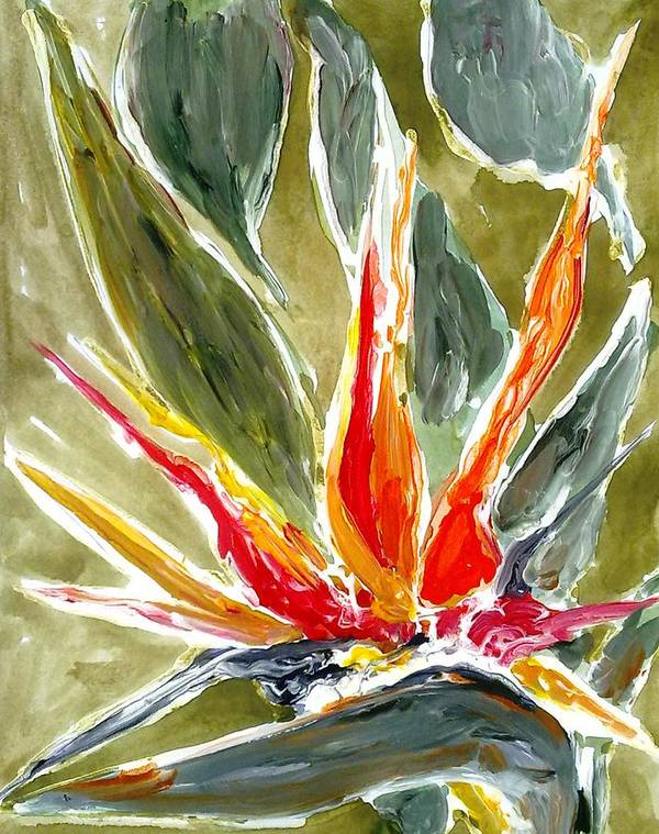 Abstract Flowers Art Print featuring the painting Divine Flowers by Baljit Chadha