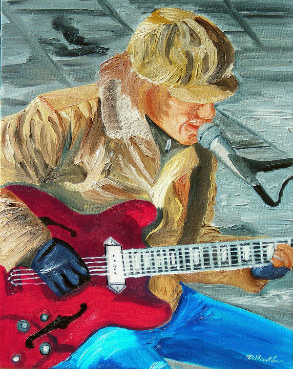 Street Musician Art Print featuring the painting A Cold Day To Play by Michael Lee