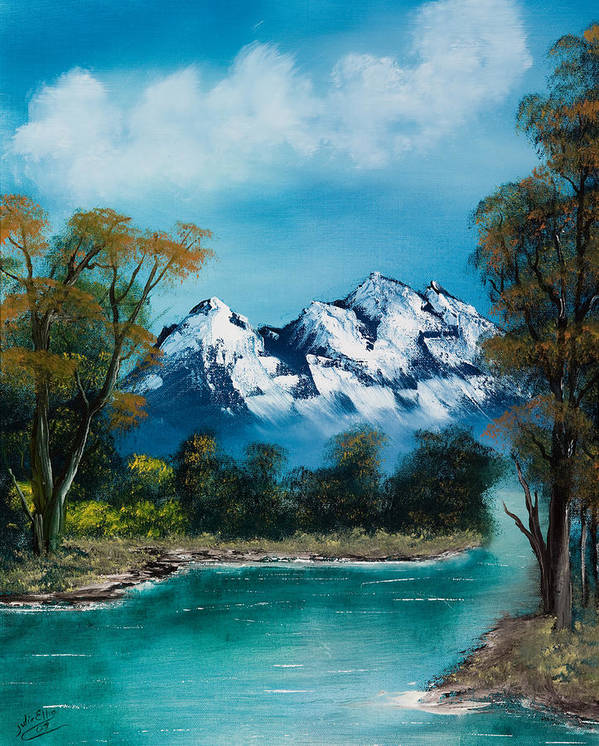 Landscapes Art Print featuring the painting A Glimpse Of The Mountains by Julia Ellis