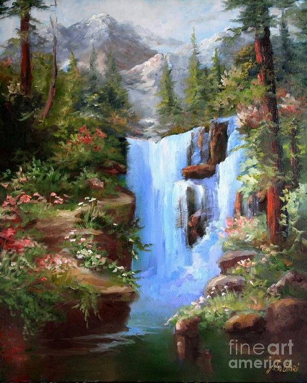 Waterfalls Art Print featuring the painting A Heavenly Place by Gail Salitui
