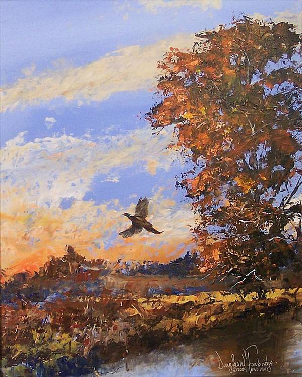 Wildlife Art Print featuring the painting A Pheasent At Sundown by Douglas Trowbridge